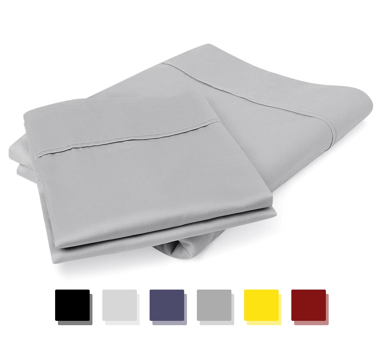 Mayfair Linen 100% Egyptian Cotton 800 Thread Count Pillow Cases (Silver)
