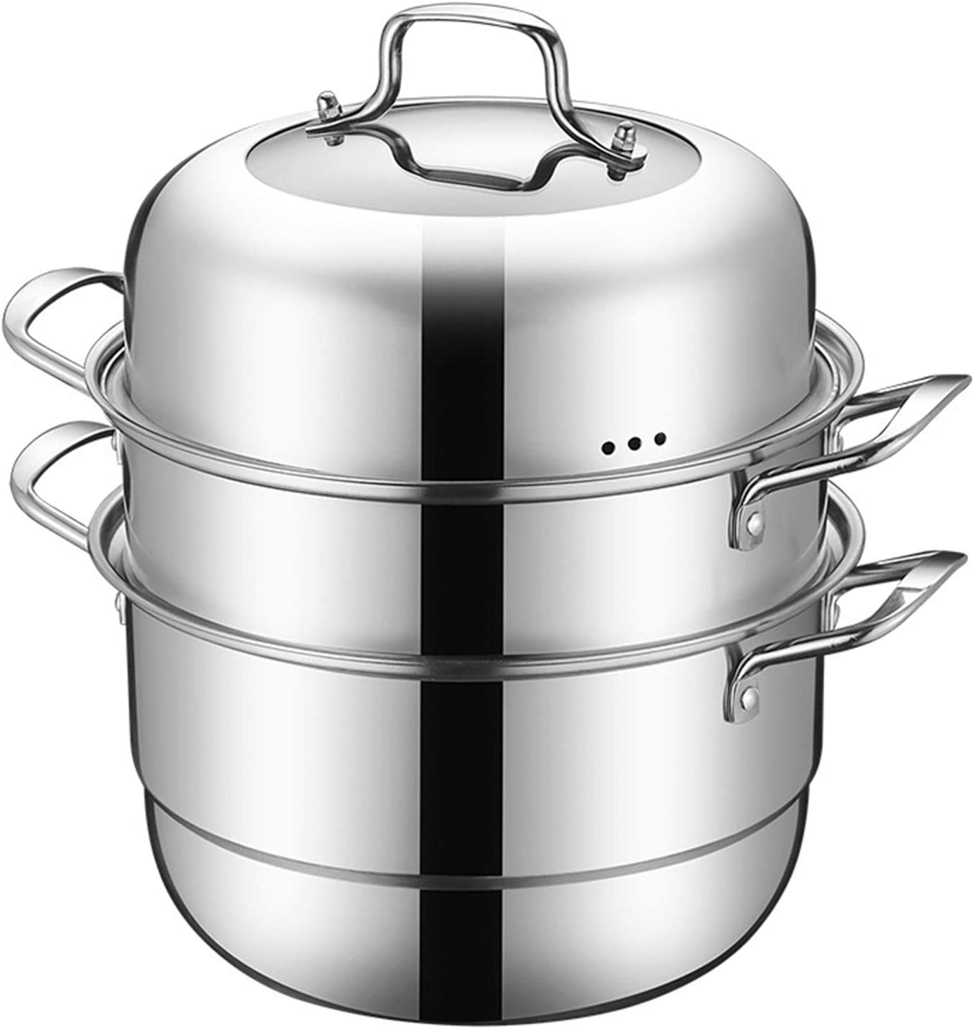 XH&XH Steamer Pot Stainless Steel Pot Food Steamer Multi Layer Pot Steam Boiler with Clear Lid for Single Bottom Kitchen 30cm
