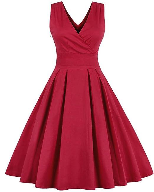 ZAFUL Mujer Vintage Vestido de Fiesta Cortos sin Mangas Cuello V con Cinturón Rockabilly Rojo Tallas