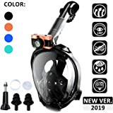 Powsure Full Face Snorkel Mask, Foldable 180 Degree Panoramic View Snorkeling Mask with Camera Mount, Safe Breathing,Anti-Leak&Anti-Fog Dry Top Driving Snorkel Set for Adult