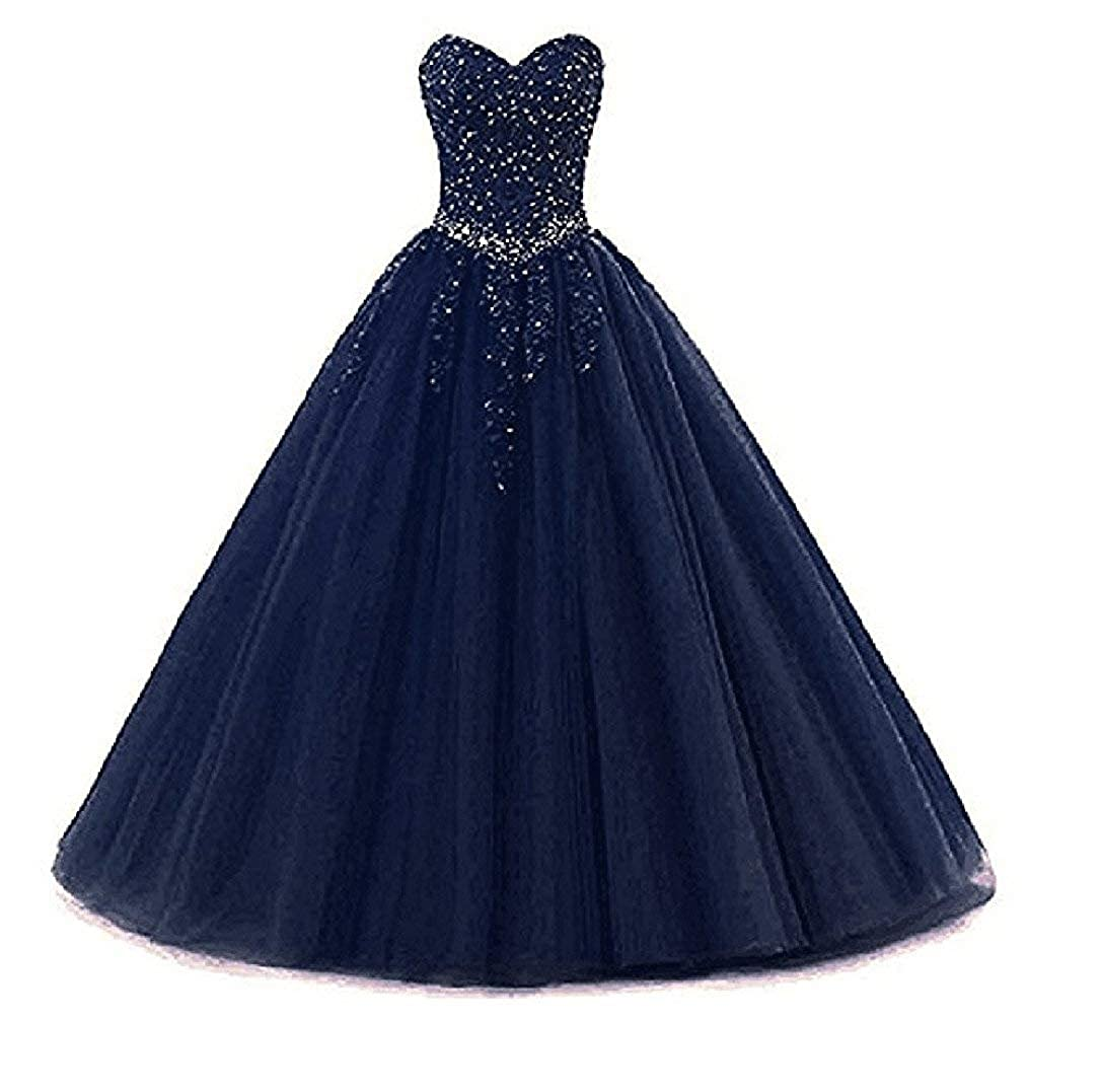 Style2navy bluee Liaoye Women's Sweetheart Appliques Quinceanera Dress Tulle Wedding Ball Gown