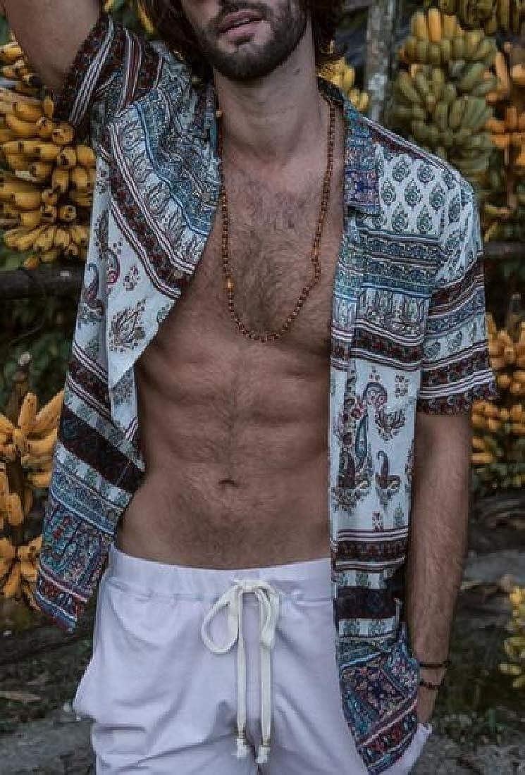 HTOOHTOOH Mens Slim Fit Tropical Short Sleeve Floral Print Beach Hawaiian Shirt