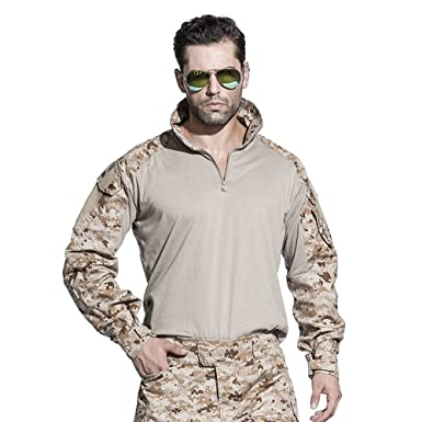 56c70caf4 EMERSONGEAR Military Airsoft BDU Shirt Tactical Combat Long Sleeve T-Shirt  AOR1 Small