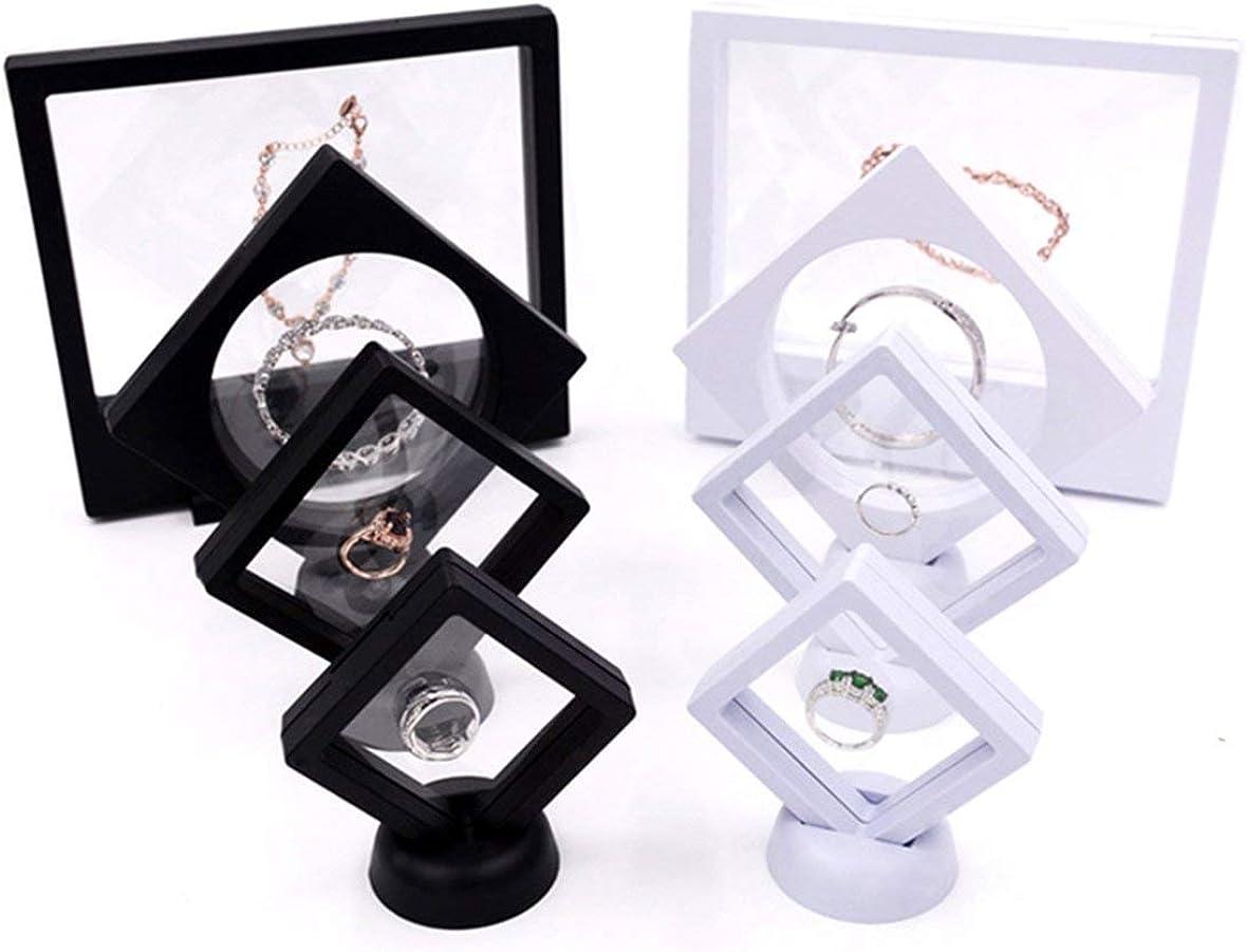noir Pr/ésentoir flottant suspendu Pr/ésentoir flottant porte-bijoux bagues boucles doreilles pendentif support de rangement bo/îte