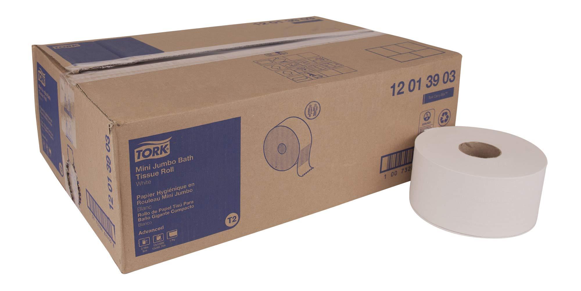 Tork Advanced 12013903 Mini Jumbo Bath Tissue Roll, 1-Ply, 7.36'' Diameter, 3.55'' Width x 1,200' Length, White (Case of 12 Rolls, 1,200' per Roll, 14,400 Feet)
