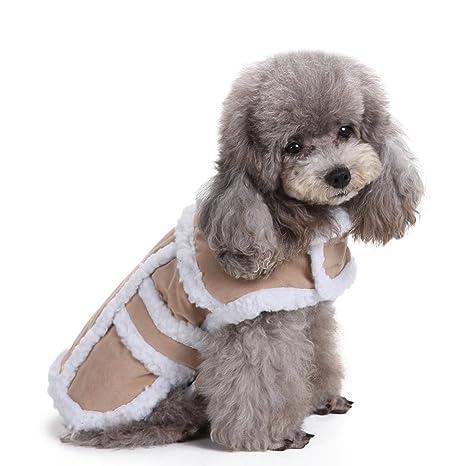 Aisuper Abrigo cálido para perro, lana de solapa, abrigo de invierno acogedor, para
