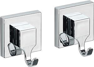 "Wenko ""Quadro"" Wall Hooks with Vacuum-Loc, Silver, 2-Piece"