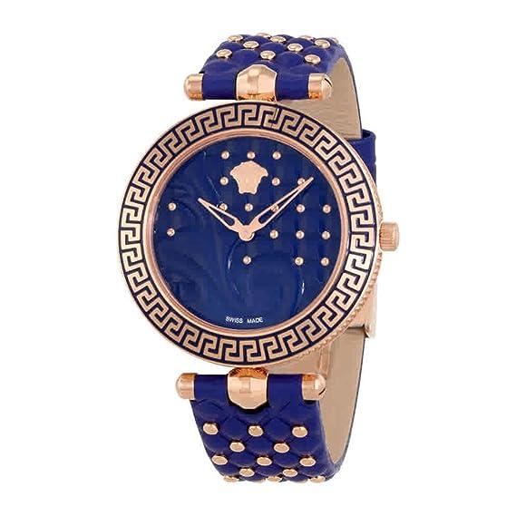 Versace Reloj Analógico para Mujer de Cuarzo con Correa en Cuero VK7740017: Amazon.es: Relojes