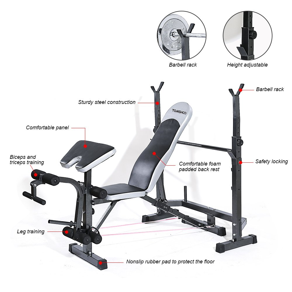 Home Gym Weight Bench Part - 25: Amazon.com : TOMSHOO Adjustable Multi-Station Weight Bench Press Incline  Flat Decline Sit Up Bench Weight AB Bench Board Exercise Barbell Squat Rack  Home ...