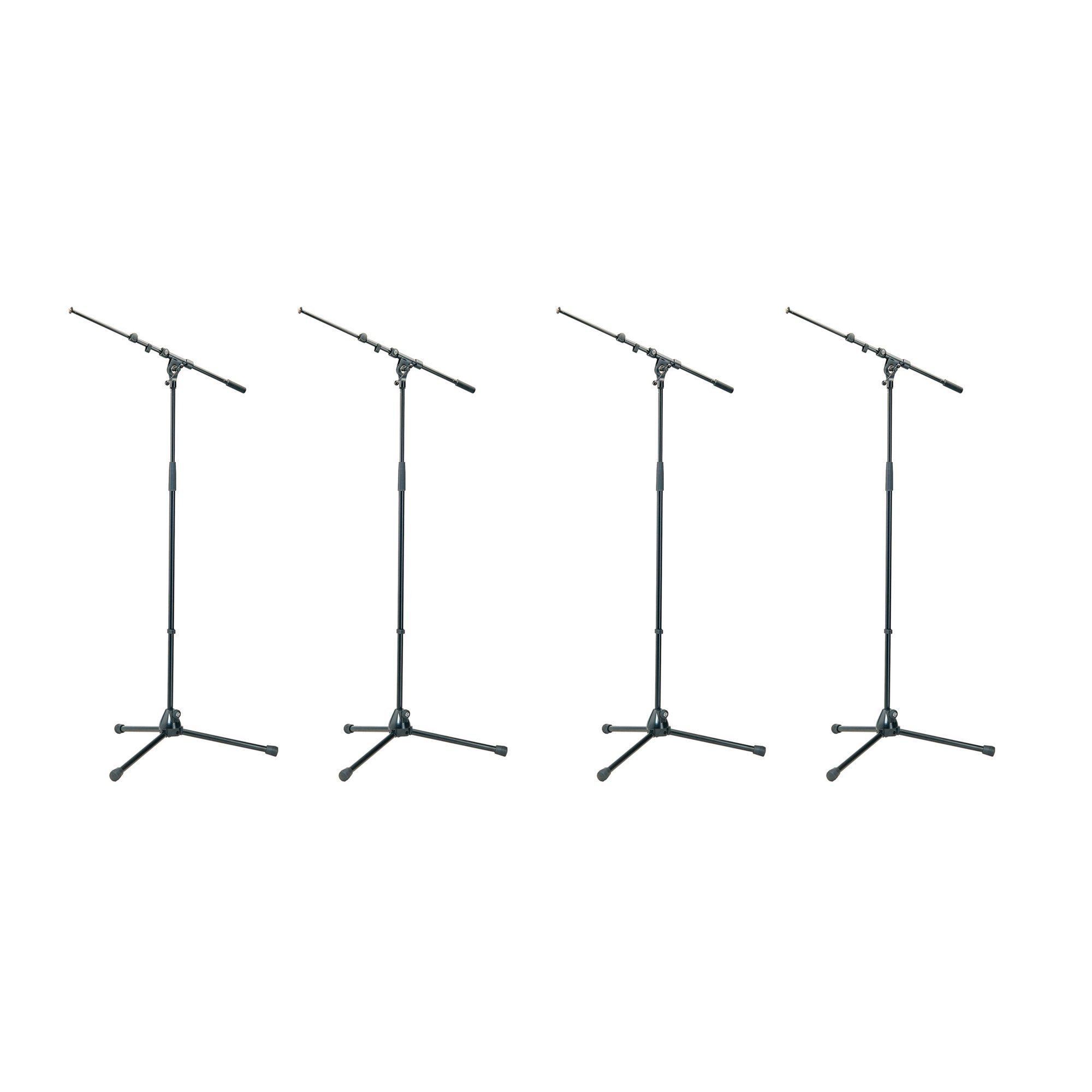 K&M Tour Grade Tripod Mic Stands with Adjustable Telescoping 18-30 inch Boom. Height 35 - 63 inches Qty 4 by K&M