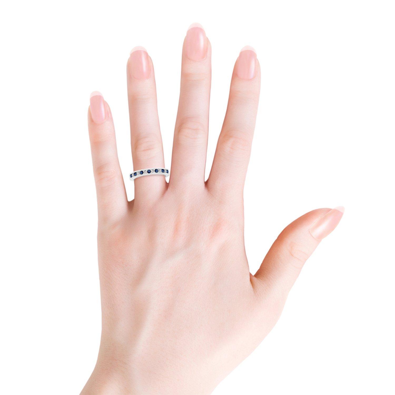 Amazon.com: Channel Set Sapphire and Diamond Semi Eternity Band: Jewelry