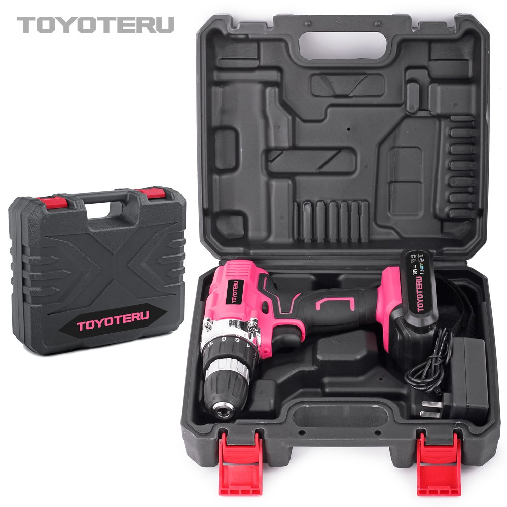 TOYOTERU Powerful 18 Volt Lithium-Ion Cordless Drill Driver Kit Pink Tool for Women- 33PCS Drill Accessory, 2 Gears,1500mAh Battery & Charger in Blow Mold Case by TOYOTERU (Image #6)