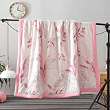 """KFZ Summer Quilt Washed Cotton Comforter for Bed Set No Pillow Covers XS Twin Full Queen Princess Comforter Colourful Flower Design for Kids Adult One Piece (Pink Leaves,Pink, Full,70""""x86"""")"""