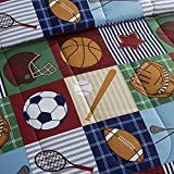 Team Sport Kids 3-Piece Twin Size Comforter Set in Blue/Tan, Baseball Pattern Made of 100% Polyester