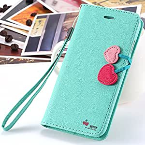 Cute Elegant Cherry Series Lovely Wallet Flip Stand Cartoon Case for iphone 6 4.7 PU Leather Cover Pouch With Strap RCD04366 --- Color:White
