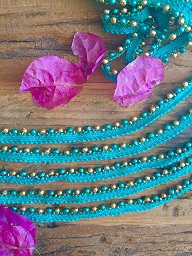 Blue Skinny Beaded Trim, beaded trim for sewing, embellished beaded trim from Trims On A Whim