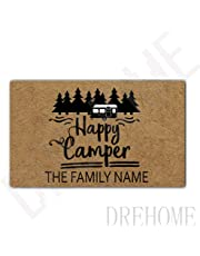 Drehome Happy Camper Rv Family Name Personalized Durable Doormat Door Mat Rubber Non-Slip Entrance Rug Floor Mat Funny Home Decor Mat 23.6x15.7 Inches