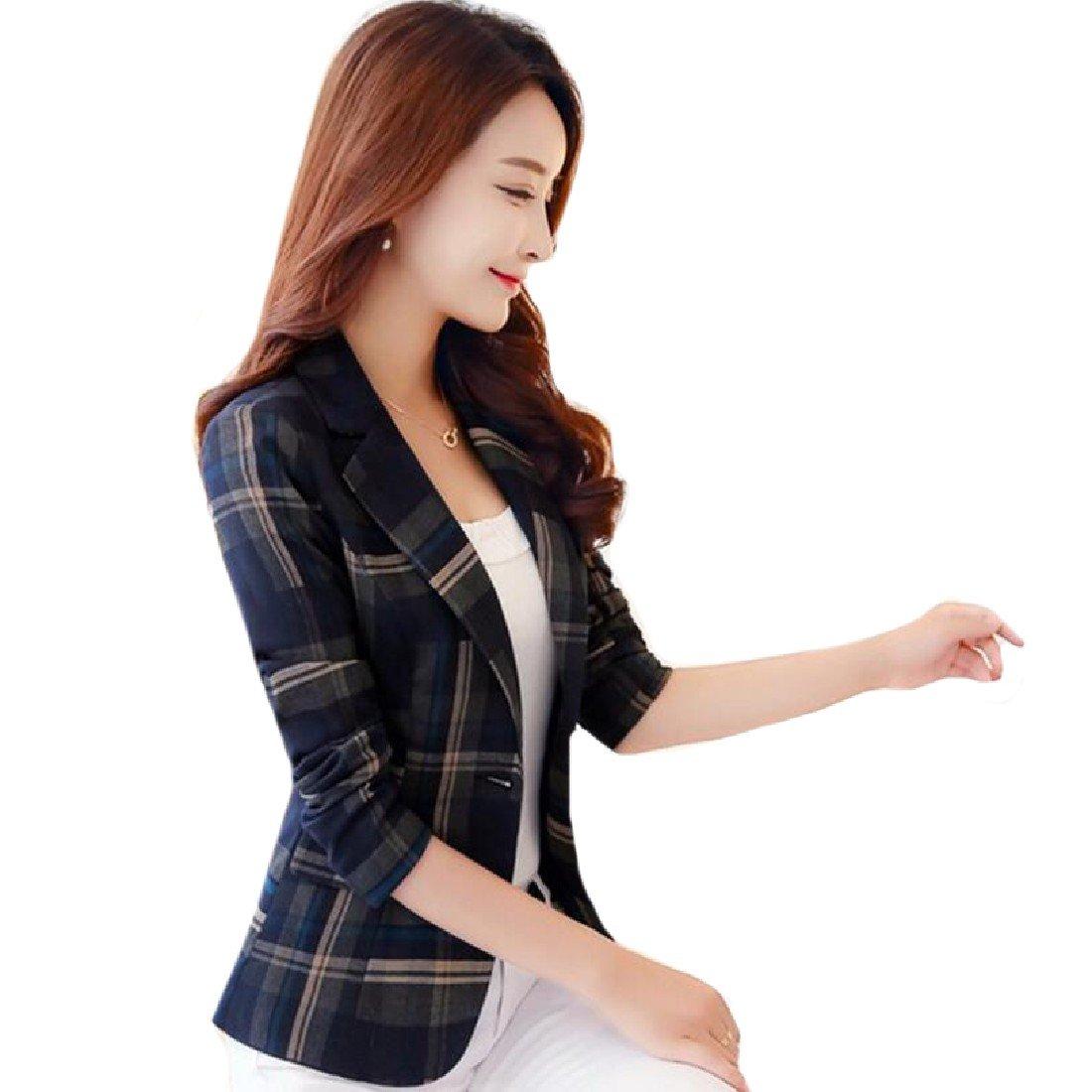 Coolred-Women Short Mini Style Slim Casual Plus Size Plaid Jackets Suit Blue 2XL