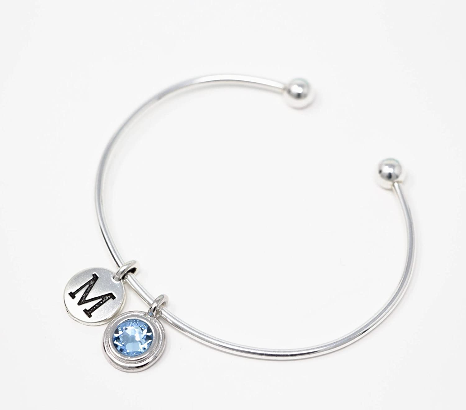 Sterling Silver Bangle Bracelet With Birthstone and Initial Charms