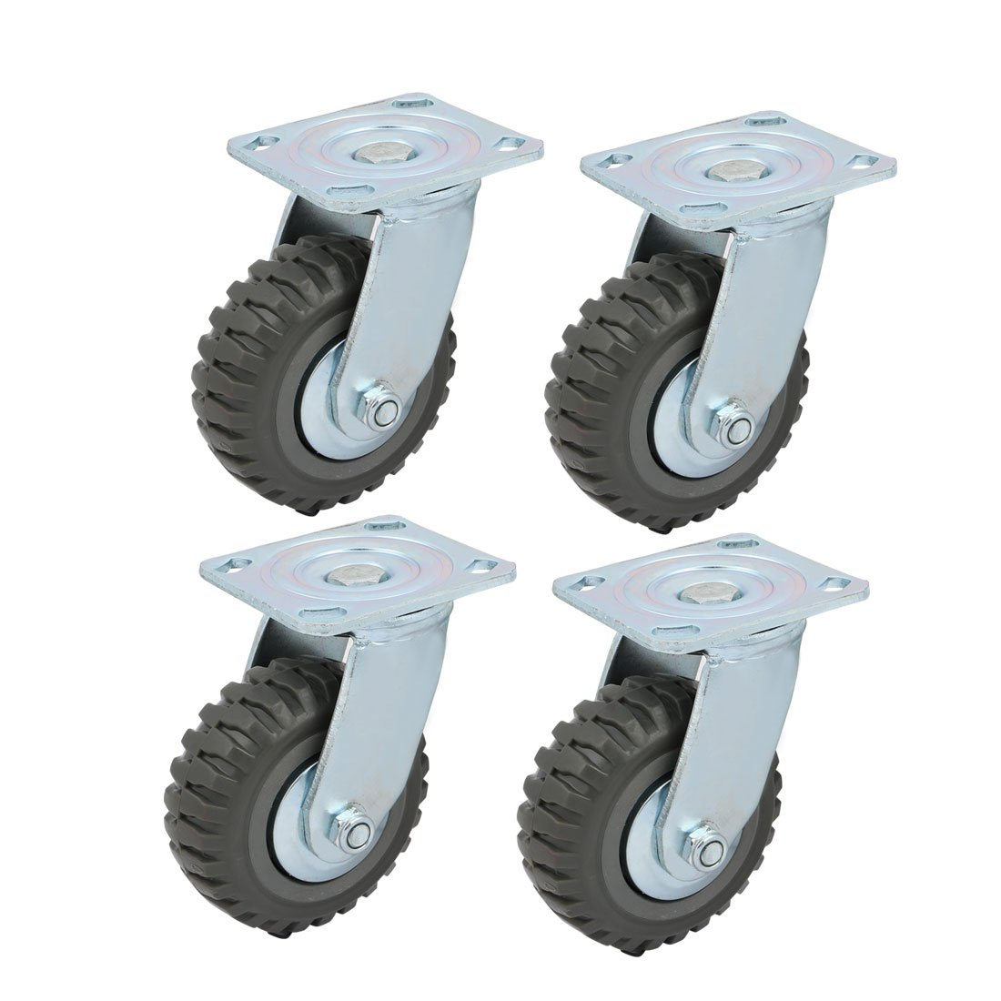 uxcell 5-inch Dia Single Wheel Screw Mounted Top Plate Swivel Caster Roller 4pcs
