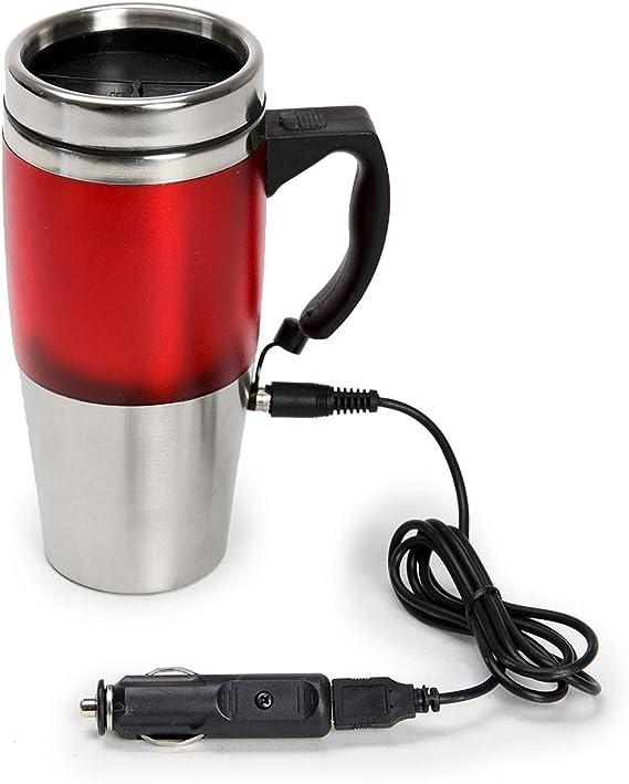 Con aislamiento caliente taza de viaje con USB 12 V DC Conector de coche frasco doble con: Amazon.es: Coche y moto