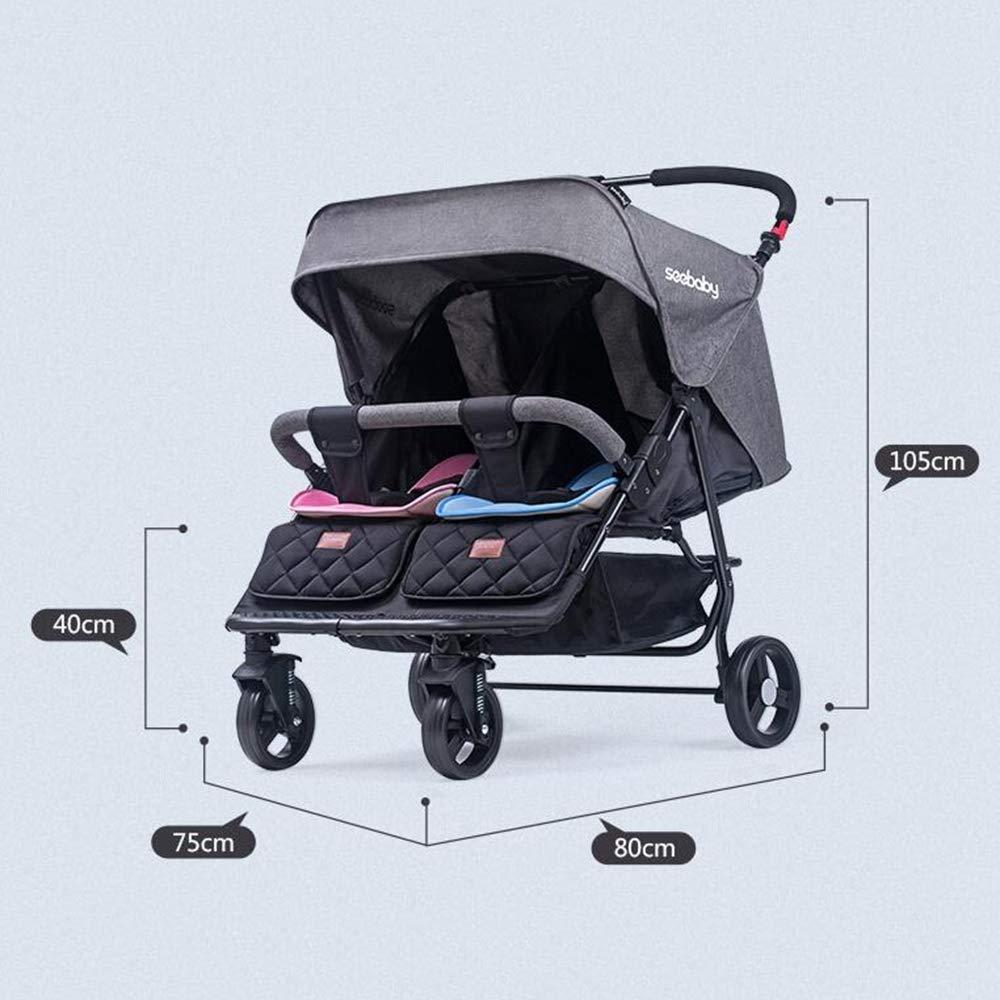 ZhiGe Silla de Paseo Doble Ligero Desmontable Silla de Paseo reclinable Plegable Carro suspensión Segundo niño Cochecito de bebé 80 * 75 * 105 cm: ...