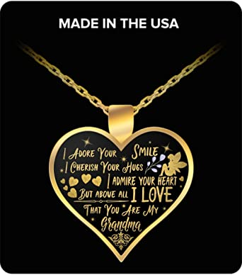 Amazon Com Valentine S Day Gifts Grandmother Charm Necklace Heart Pendant Necklace From Grandchildren Grandson Or Granddaughter Clothing