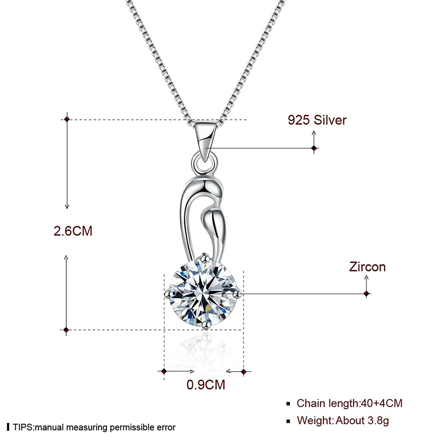 40+4CM Aokarry S925 Silver Necklace for Women Hollow Drill White Chain Length