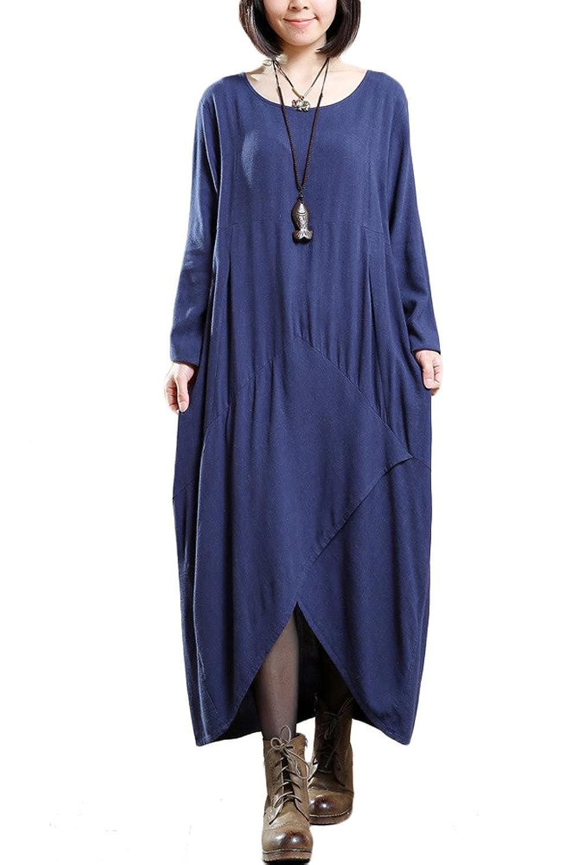 Vogstyle Damen Frühjahr Neue Unregelmäßige Saum Kleider mit Taschen