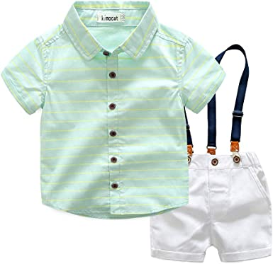 Bebé Bebé Niño Caballero Traje Pajarita Camisa Camisa + Tirantes Pantalones Verano: Amazon.es: Ropa y accesorios
