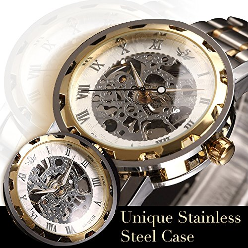 Watch,Mens Watch,Luxury Classic Skeleton Mechanical Stainless Steel Watch With Link Bracelet,Dress Automatic Wrist Hand-Wind Watch (whitegold)