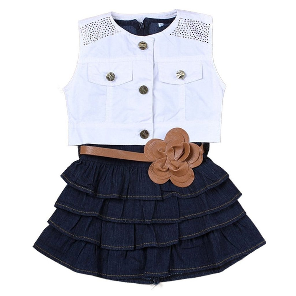 Cute Baby Girl Kids Outfit Clothes Clothing Coat + Denim A-line Dress 2 Pcs Set 7-8Years White & Blue