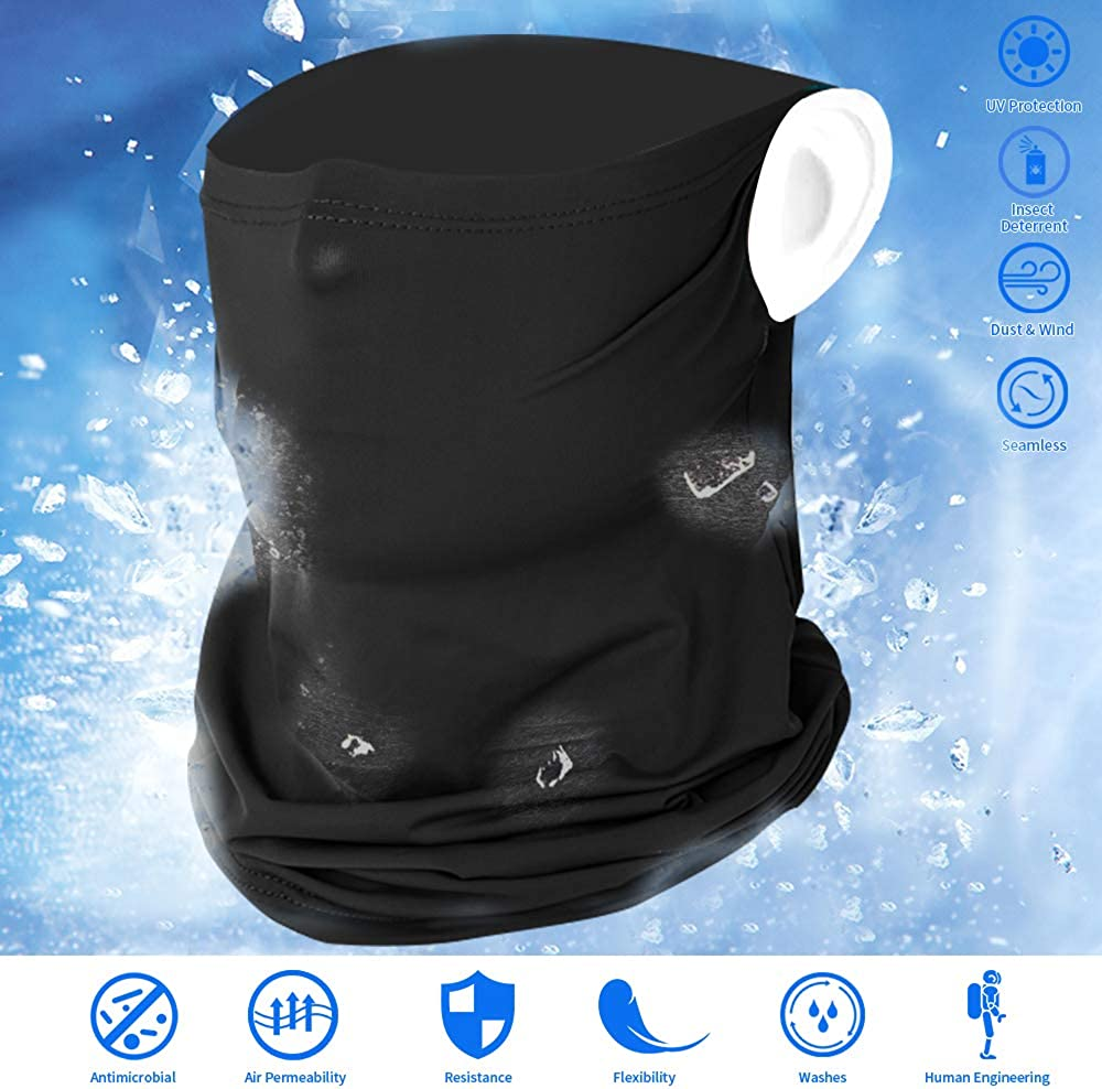 KEPMOV Cooling Face Mask Scarf Ear Loops Neck Gaiters Dust/&UV-Protection for Outdoor