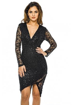 8a29bc76 AX Paris Women's Sequin Wrap Front Midi Dress(Black, Size:4) at Amazon  Women's Clothing store: