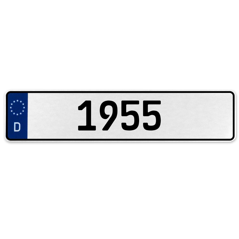 Vintage Parts 553339 1955 Year White Stamped Aluminum Deutschland License Plate
