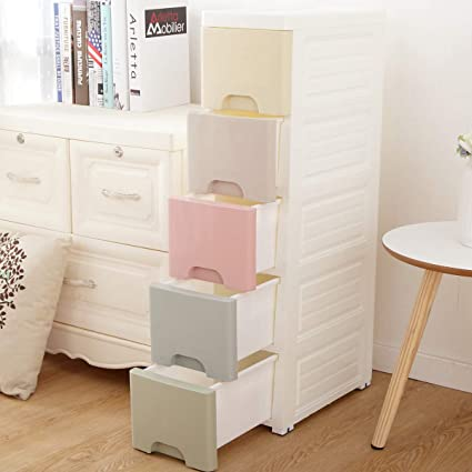 reputable site 7e66b 8bc58 Nafenai Baby Dresser, Cute Multicolor Drawer Storage Cart for Kids Bedroom,  5 Drawers-7.87