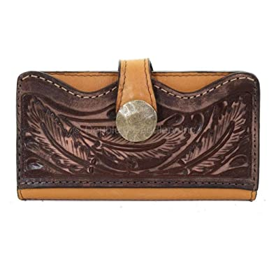 Double J Saddlery LW220 Buckskin Feather Tooled Wallet at