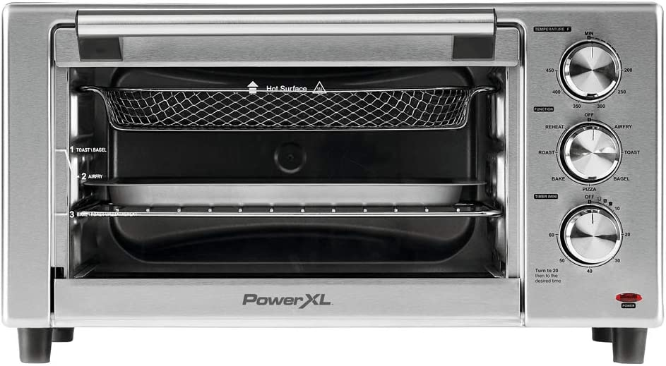 PowerXL Air Fryer Grill 8 in 1 Roast, Bake, Rotisserie, Electric Indoor Grill (6 Piece Accessory Pack), Stainless Steel