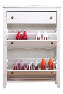 Kleiner Schuhschrank Mit 3 Klappen Weiß Amazonde Küche Haushalt