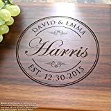 Round Stamp Personalized Engraved Cutting Board- Wedding Gift, Anniversary Gifts, Housewarming Gift,Birthday Gift, Corporate Gift, Award, Promotion. #001