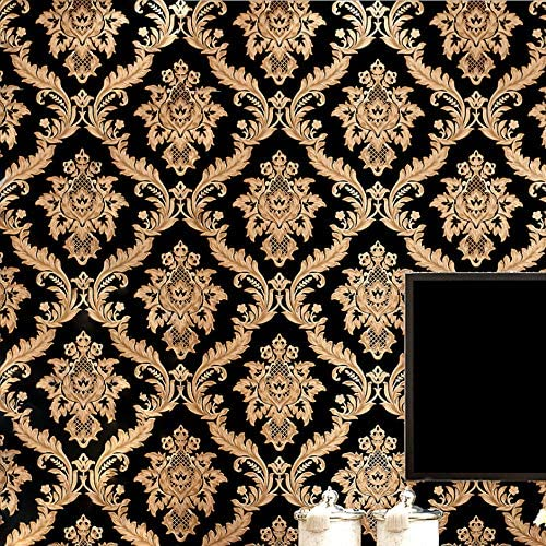 KeTian Vliesbehang damast in Europese stijl zwartgouden kleur met goudstrooieffect voor woonkamer slaapkamer tvachtergrondbehang 053 m x 10 m53 m2