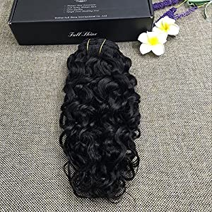"Full Shine 12"" 7Pcs/Set Brazilian Remy Human Hair Black Women Clip in Hair Extensions Good Hair Full Head Black Color Clip in Extensions Wavy Clip on Extensions"
