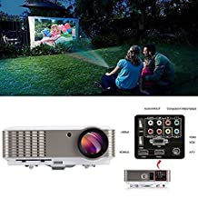 EUG Full Hd 1080p 3600 Lumens LCD LED Image System Home Theater Cinema Projector Red&blue 3d Ready Iphone Ipad Cell Phone Pc Blu-ray Xbox Ps3 Mac Tv Compatible for Education Gaming with USB Hdmi VGA Av Port