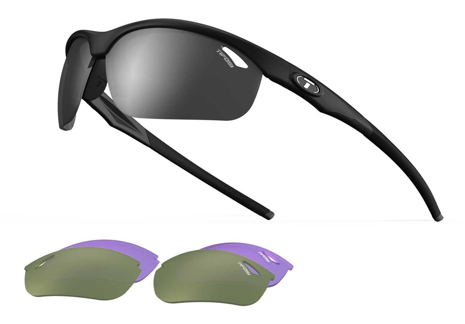 Veloce, Matte Black Golf Sunglasses with 3 interchangeable lenses by Tifosi