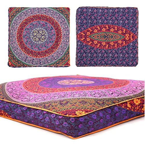 Third Eye Export Indian Mandala Floor Pillow Square Ottoman Pouf Daybed Oversized Cushion Cover Cotton Seating Ottoman Poufs Dog/Pets Bed (Purple Cover Only)