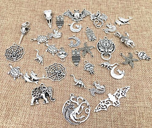 Animal Charms (100 Grams Assorted Animals Creatures Charm Pendant Connector for DIY Crafting Key Chain Bracelet Necklace jewelry Making Findings Accessories By Alimitopia(Antique Silver))