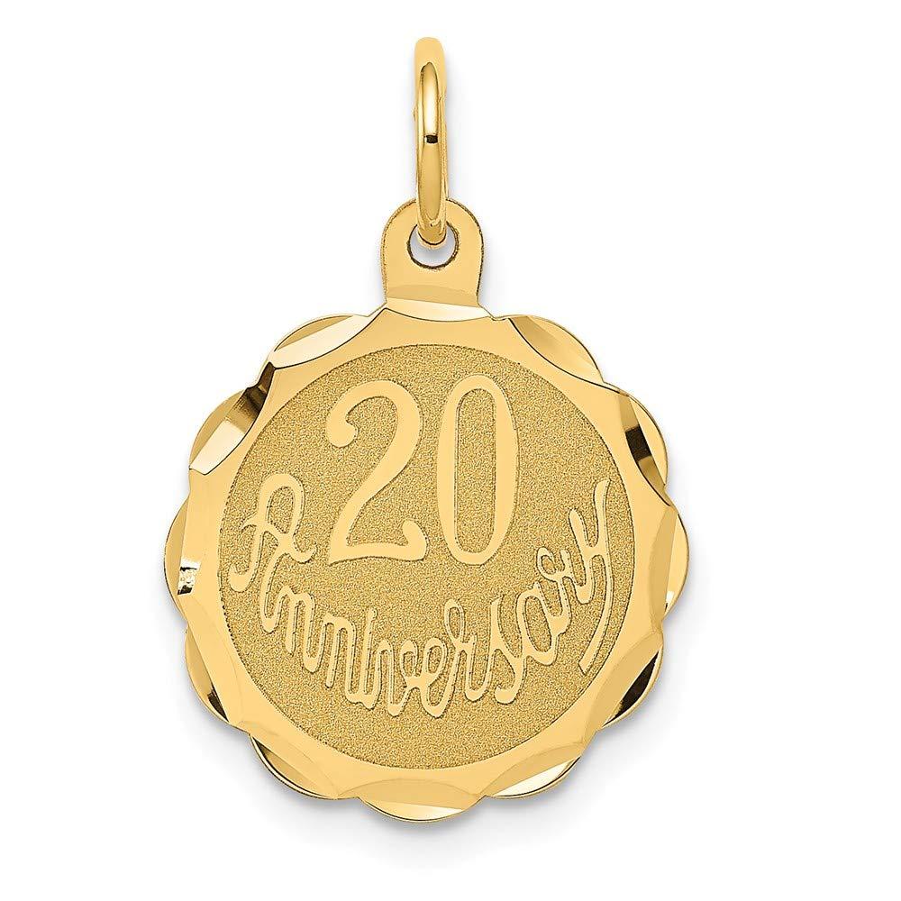 14K Yellow Gold Happy 20Th Anniversary Charm 22x15mm