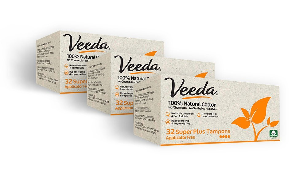 Veeda Natural All-Cotton Tampons, 96 Ct Super Plus, Non-Applicator, 3 Packs of 32 Count