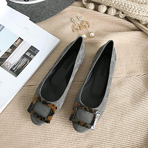 Angrousobiu Federklemme runden Kopf und und und flache Schuhe mit wenig Licht einfache Leder Einzel Schuhe Frauen 405f80