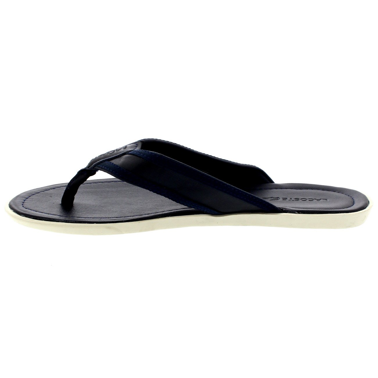5f440166d Mens Lacoste Carros 6 Leather Fabric Vacation Flip Flops Beach Sandals -  Dark Blue - 13  Amazon.ca  Shoes   Handbags